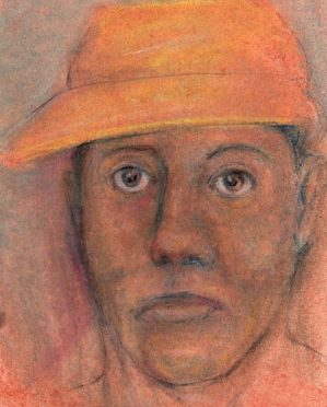 pastel drawing woman wearing visor hat art for poem Cry