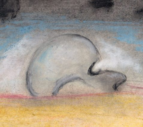 Pastel drawing of skull-like head in desert landscape