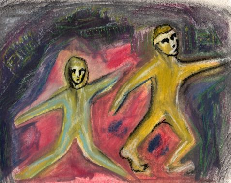 Pastel drawing of male and female doll-like figures