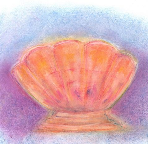 Pastel drawing of carnival glass rose bowl