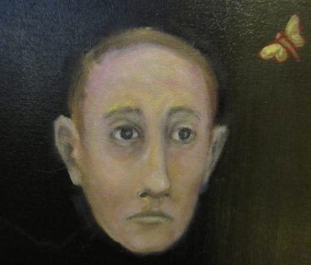 OIl painting cameo of repressed but worried man