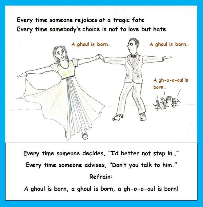 Cartoon of ghoul and sprite dancing