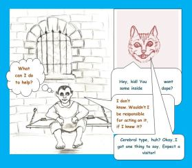Cartoon of ghoul in jail visited by Cheshire cat