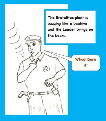 Cartoon of security guard's gun beamed away