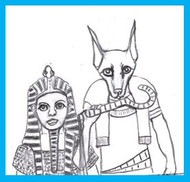 Cartoon of female pharoah and god Anubis