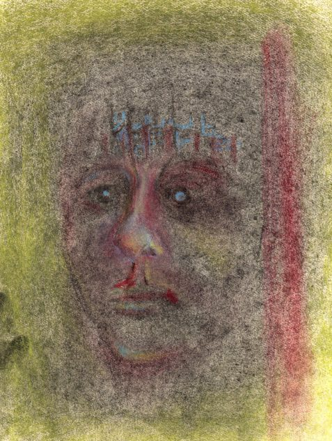 Pastel drawing of male face showing feeling of desperation