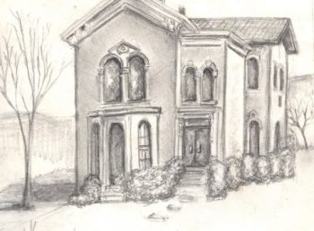 Pencil drawing of Gothic house
