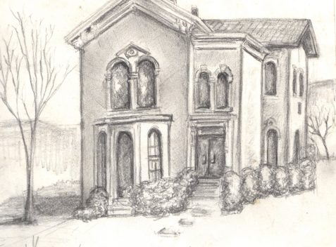 Pencil drawing of Gothc house