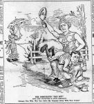 Newspaper cartoon allegorical city of Chicago spanking Hearst