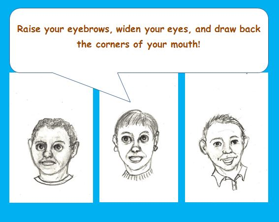 Cartoon of counsellors teaching clients how to smile