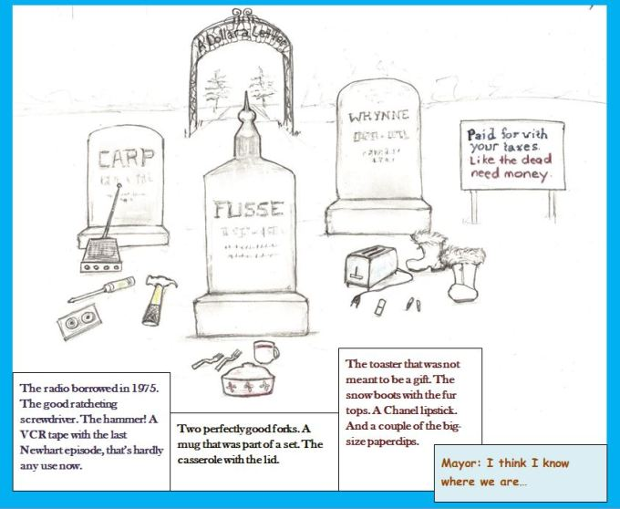 Cartoon of gravestones with items grudgingly returned