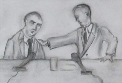 Flash Fiction drawing of twp men at un-American activities hearing art for May Day
