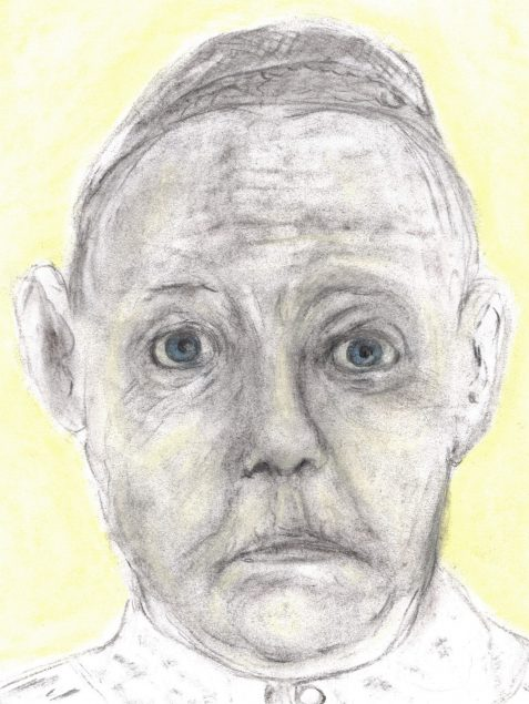 Charcoal and pastel drawing of straight-laced housekeeper