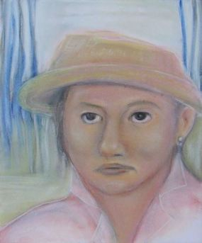 Flash Fiction native American woman in straw hat art for All the Sires