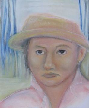 Pastel drawing of Native American woman in straw hat