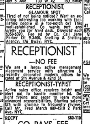 Newspaper clipping for 1960s receptionist