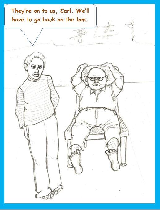 Cartoon of fugitive couple by lakeside