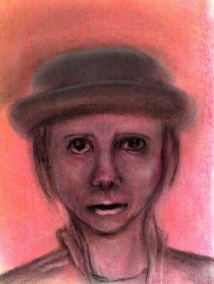 The German Spy face of character Agnes wearing hat art for poem Lonely in Its Reckoning