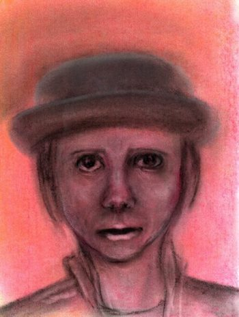 Pastel drawing of woman feeling horrified