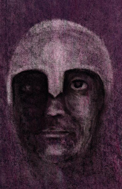 Pastel drawing of god Hades in helmet