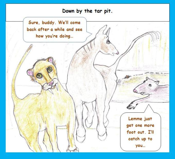 Cartoon of megafauna at tar pit