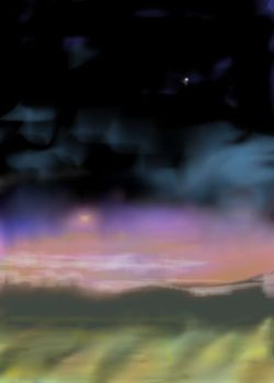 Digital painting of landscape under setting sun and star