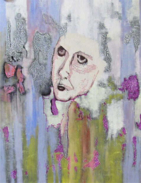 Oil painting of angry woman's face abstract background