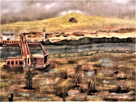 Oil painting of river landscape and lock-like structure