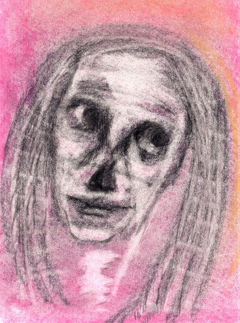 Pastel drawing of skull-like woman feeling skeptical