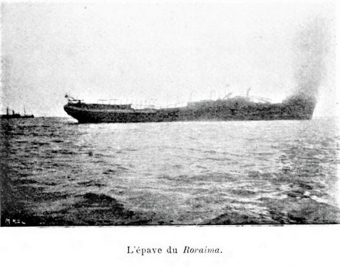 1902 photo of steamer Roraima on fire