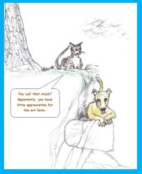 Cartoon of cat disparaging dog stuck on ledge
