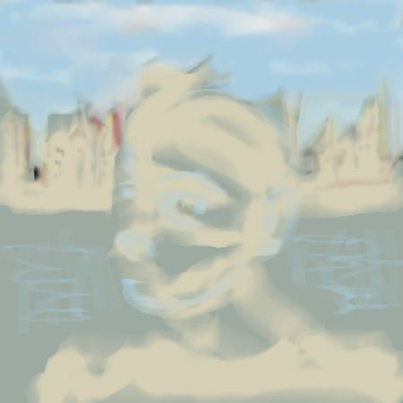 Uncollected Poems anxious man across river from cityscape art for poem Tired of Yourself