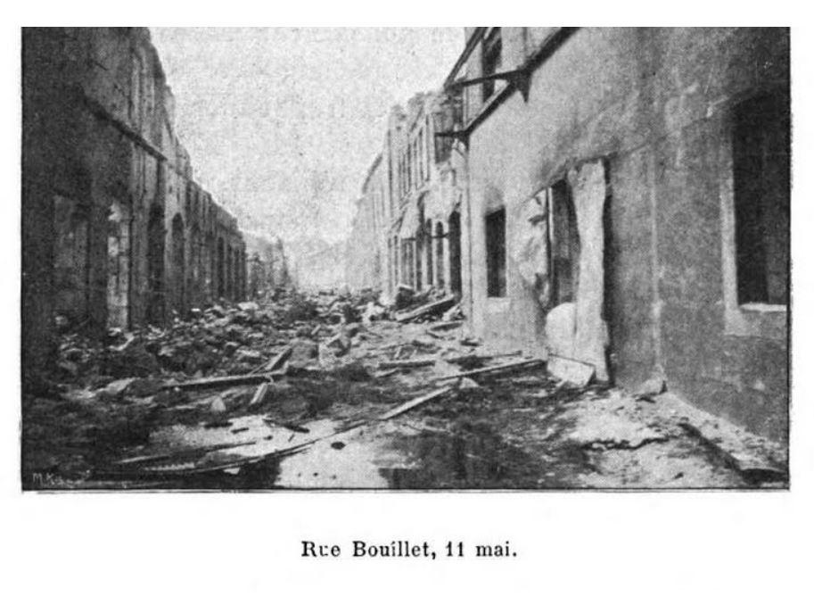 1902 photo of destruction on Saint-Pierre street