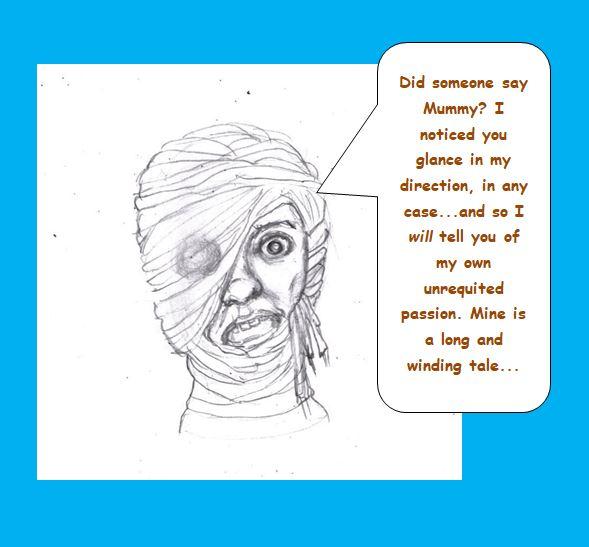 Cartoon of Mummy telling personal story