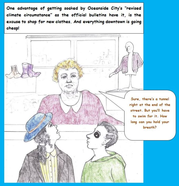 Cartoon with woman who looks like Shelley Winters advising about swiming through tunnel