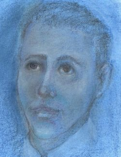 Pastel drawing of hopeful young man