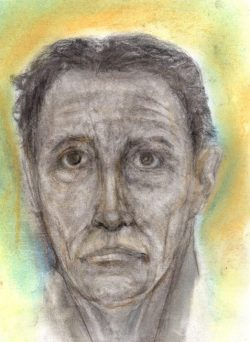 Charcoal and pastel drawing of middle-aged man feeling defeated