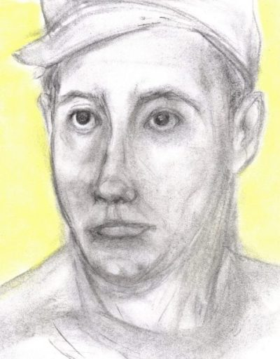 Charcoal and pastel drawing of soldier wearing cap