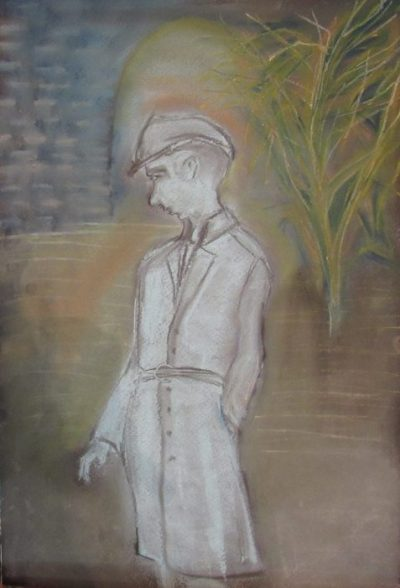 Calmacott's Brother a thin male figure stands before a tunnel art for poem Calmacott's Brother
