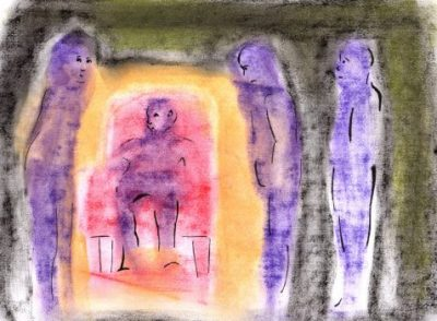 Pastel drawing purple figures surrouding as interrogators seated figure