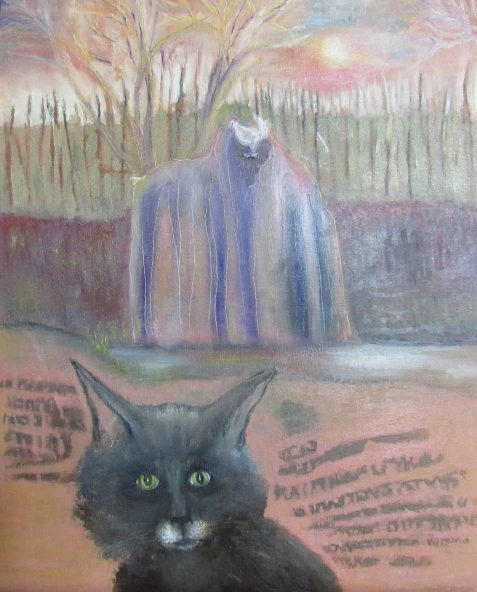 Oil painting of black cat wizard-like rock and rooster