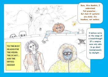 Cartoon of Headless Horseman and other Halloween figures