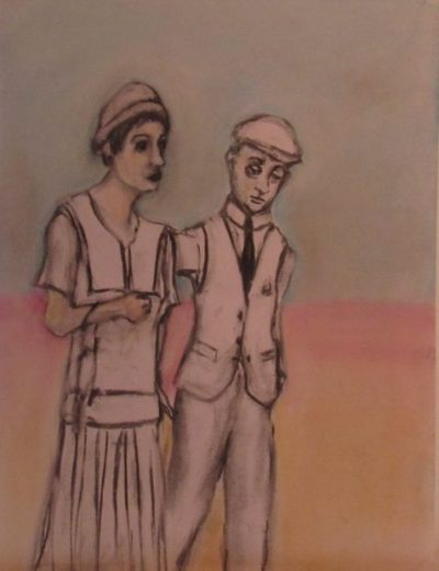 Calmacott's Brother a puny young man and tall strong-featured woman walk together awkwardly art for poem Henry Calmacott part two