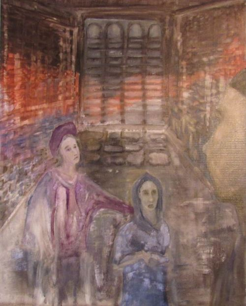 Oil painting of characters Pierre and Regalus in the Bishop's prison