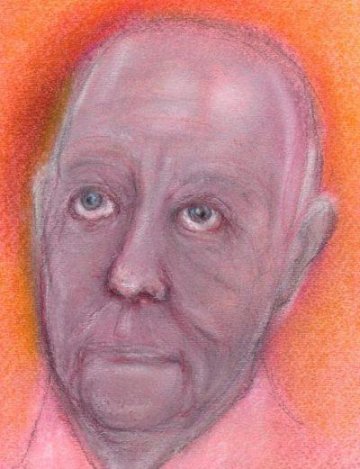 Pastel drawing of rheumy-eyed elderly man