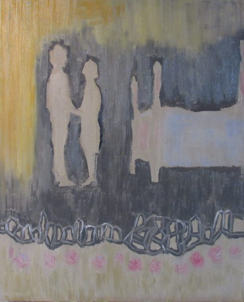Oil painting of silhouetted man and woman near bed