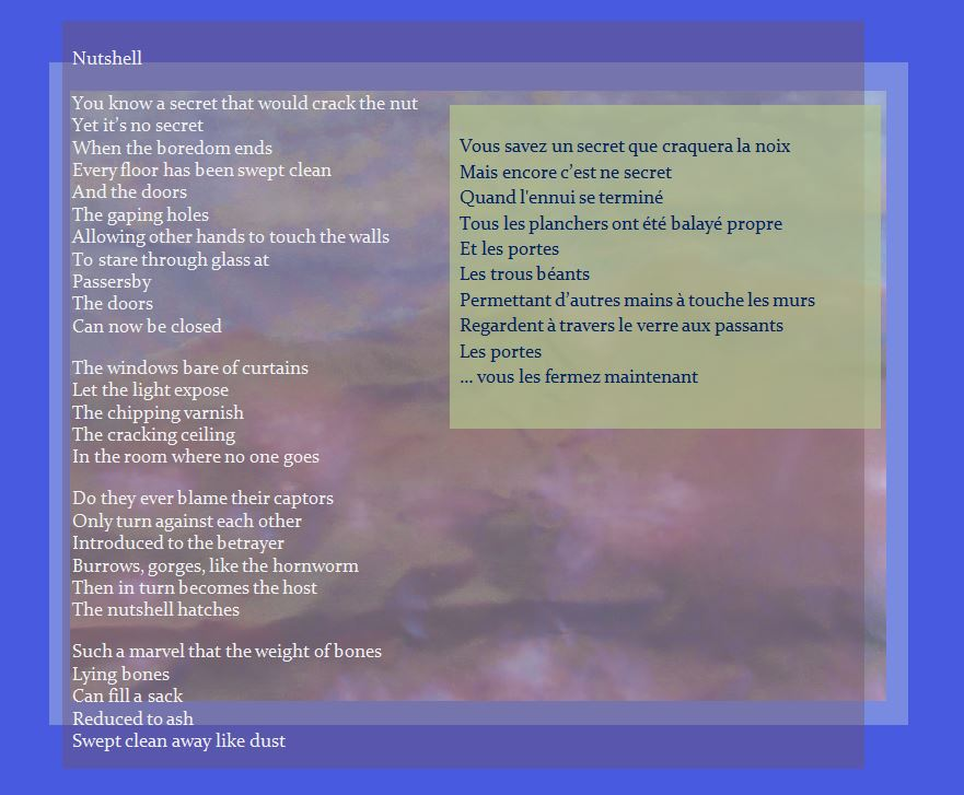 The Nutshell Hatches text with image of cloudy landscape poem Nutshell