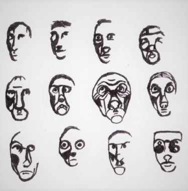 The German Spy pen sketches of shell-shocked faces art for poem Older in Their Wisdom