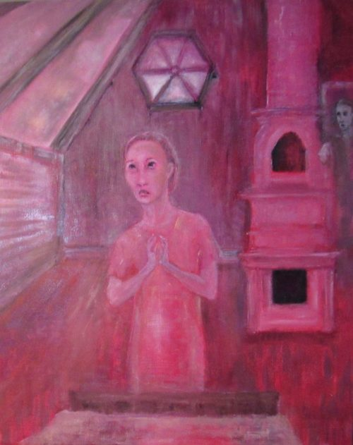 Oil painting of thin young woman praying under octagonal window