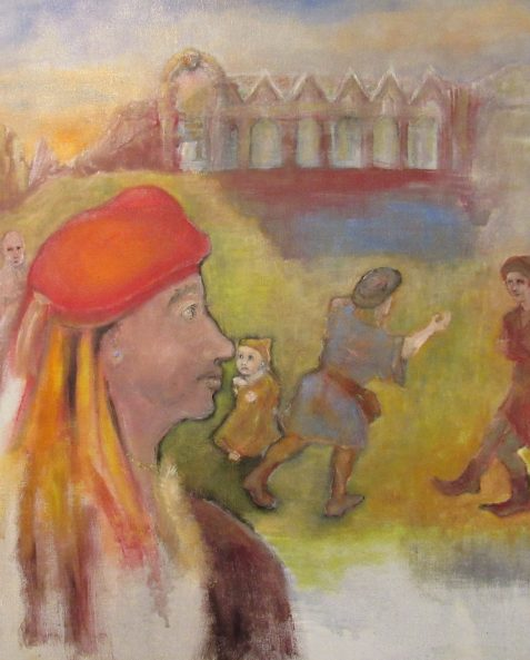 Oil painting of man in carnival hat watching others fight